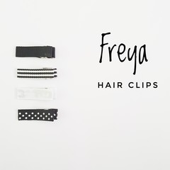 FREYA | black and white lined hair clips | snap clips, toddler clips, baby hair