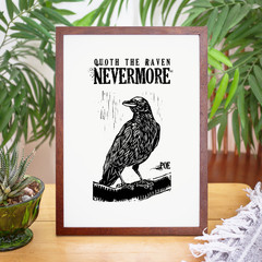 Edgar Allan Poe Print, Quoth the Raven Nevermore, Unframed Print