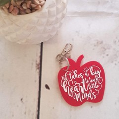 PERSONALISED APPLE TEACHER KEYRING - name & quote