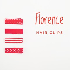 FLORENCE | red lined hair clips | snap clips, toddler clips