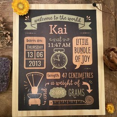 Custom Birth Stats Board, Free Shipping, Birth announcement, wood baby keepsake
