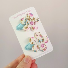 Blue Flower Duo | Baby or Toddler Hair Clips