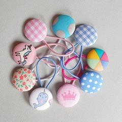 Button hair ties | piggytail, hair ties, girls hair
