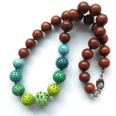 Saturday multi colour beaded casual chunky necklace, lime, blue green