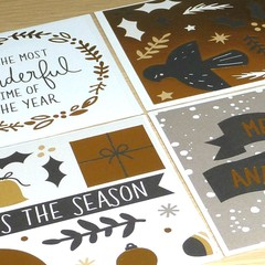 Set 4 mini Christmas gift cards - modern gold designs
