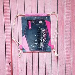 Pink Denim Backpack, Denim Gym Bag, Camera Backpack