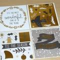 Set 4 mini Christmas gift cards - modern gold designs
