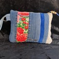 Clutch made from Vintage silk Kimono and Upcycled denims. Pink/ Red/Blue