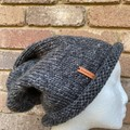 Knitted grey slouchy beanie, mens grey beanie, ladies slouchy grey beanie