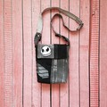 Jack Skellington Crossbody Bag, Black Denim Bag, Recycled Denim Messenger Bag