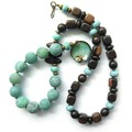Enamel pale green + wood statement necklace