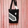 Yin Yang Tote Bag, Denim Tote Bag, Black Denim Tote, Necktie Bag