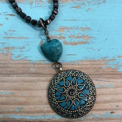 Brass & Teal Inlay Necklace (09)