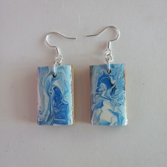 Cypress wood and coloured abstract resin earrings