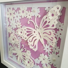 3D 12in x 12in White Butterfly Shadow Box