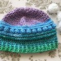 Childs Crochet Beanie Girly stripes - 52cm