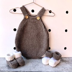 Hand Knitted Baby's Romper in Natural Brown Pure Wool, fits 0-3 months