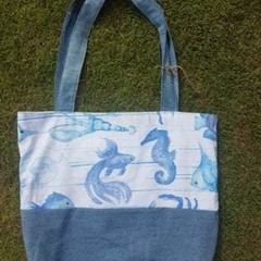 Recycled Tote Sea-life Print