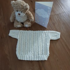 Hand knitted cotton top - birth to 3 months - ideal for summer