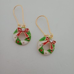 Gold enamel Christmas wreath charm earrings