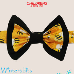 Bees bow tie. Children's size.