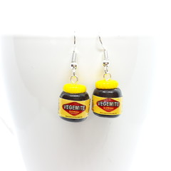 Miniature Vegemite dangle earrings, handmade polymer clay, Aussie cute earrings