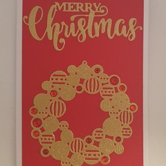 Christmas Card - 'Wreath and Merry Christmas'
