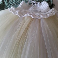 Lemon and White Tulle Tutu with Crochet Top