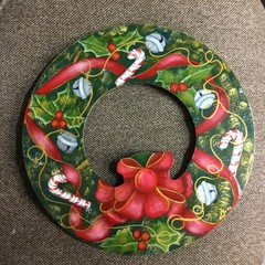 Hand painted Christmas wreath.
