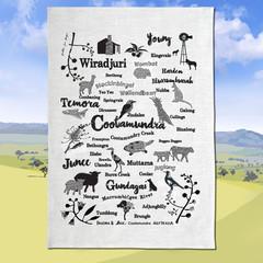 Cootamundra Gundagai Temora Young Wiradjuri Linen Tea Towel Dish Towel