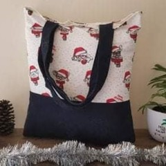 Recycled Tote Christmas Print