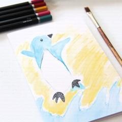 6 Blank Cards, Fairy Penguin, Australia Souvenir, Birthday Card, Christmas Card