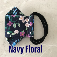 3D FACE MASK Navy Floral - washable with filter pocket. No fogging ready 2 post