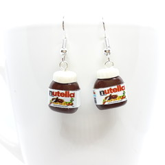 Miniature Nutella dangle earrings, handmade polymer clay