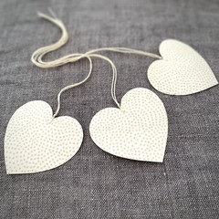 Set of 3 Hearts on a String - Christmas or Teacher's Gift