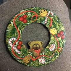 Hand painted wooden Christmas wreath.