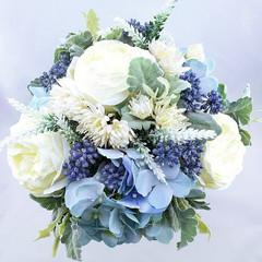 Bridal Bouquet Blue & Ivory Rose Hydrangea Bouquet -  Artificial Wedding Flowers