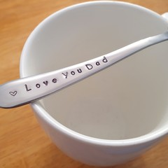 Love You Dad,Fathers Day,Teaspoon,Hand Stamped, Dad Present,Best Dad,