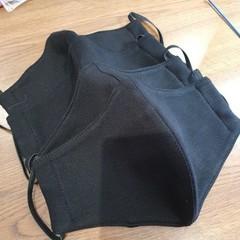 Black 100% Cotton Triple Layer Face Mask with inner insert pocket - Regular size