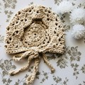 Crocheted lacy baby bonnet - newborn photography prop