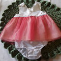 White Satin with Salmon Tulle dress and bloomers