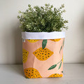 Large fabric planter | Storage basket | Pot over | LEMONS