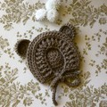Crocheted baby bonnet with bear ears - size 3-6 months