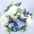 Bridal Bouquet Blue & Ivory Rose Hydrangea Bouquet -  Artificial Wedding Flowers