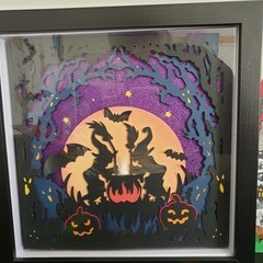 3D 12in x 12in Halloween Shadow Box