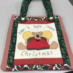 Christmas themed patchwork shopping tote.