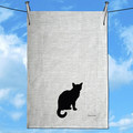Poodle / Labradoodle with Shadow Silhouette pure  Linen Tea Towel