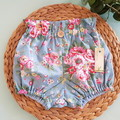 Girls Blue Floral High Waisted Bloomers Britches Size 0, 1, 2 & 3