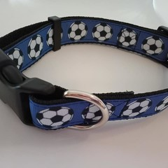 Blue soccer ball print adjustable dog collars medium / large