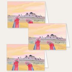 Three Australian Galah Rose Cockatoo Blank Cards FREE Shipping Australia Wide